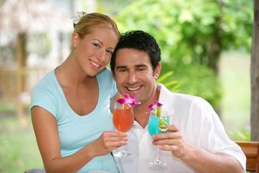 couple in love enjoy some drinks on holidays in : Stock Photo