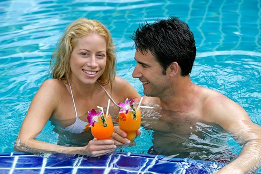 Stock Photo: 4292-131500 couple in love have fun in pool