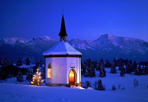 Stock Photo: 4292-132205 Chapel, christmastree, alps in winter