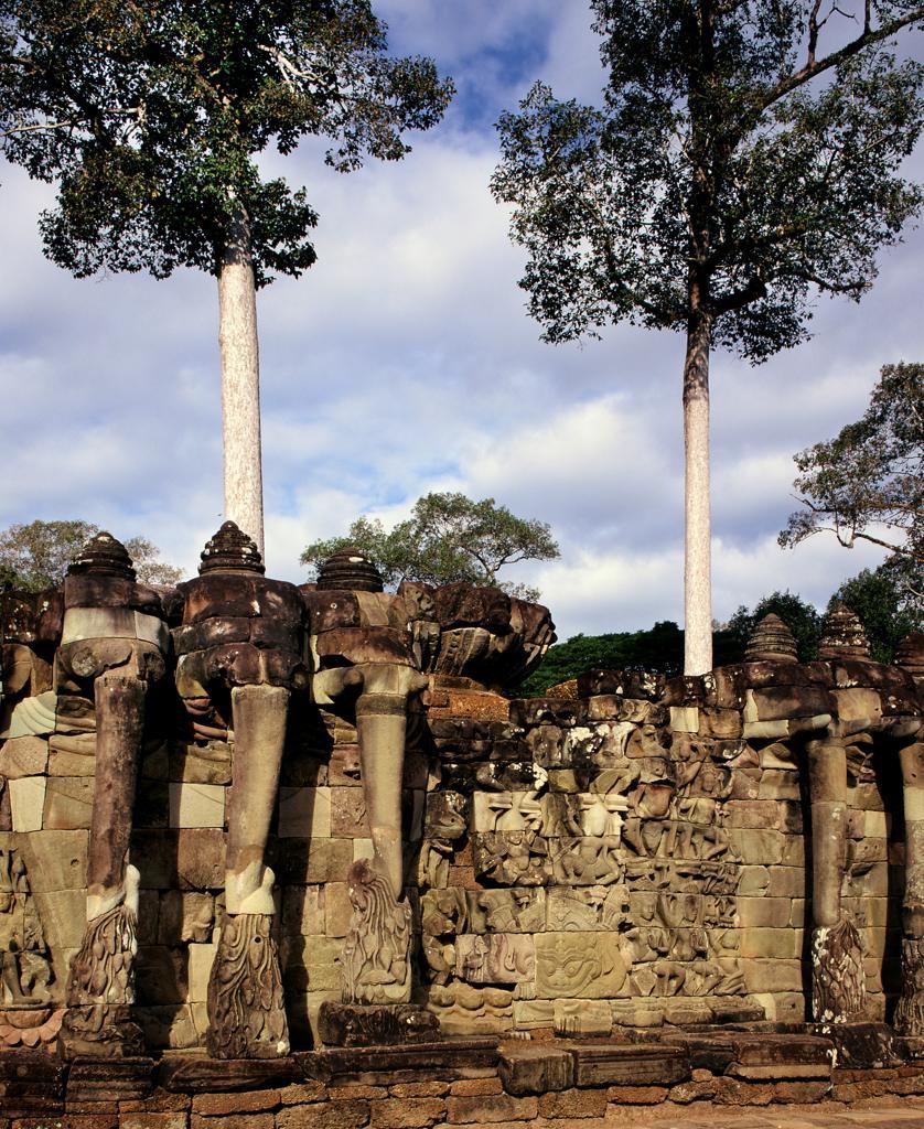 Cambodia, Angkor, Angkor Thom, Elephant terrace of the royal palace : Stock Photo