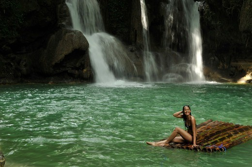 Stock Photo: 4292-137193 Asia, Philippines, Mag aso, woman in a pond with waterfall