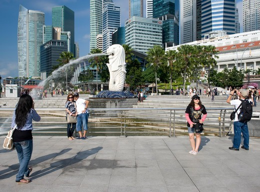 Asia, Singapore, the Merlion fountain : Stock Photo