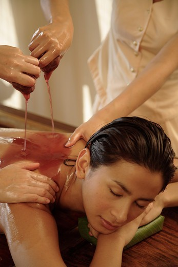Pizhichil Massage (ayurveda treatment) at the Oriental Spa, Bangkok,Thailand : Stock Photo