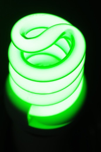 Close up of green fluorescent bulb : Stock Photo