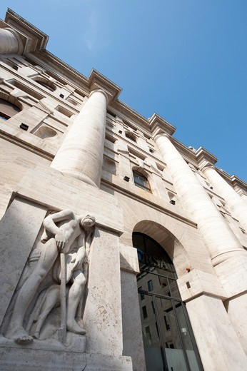 Stock Photo: 4292-138458 Italy, Lombardy, Milan, the stock exchange in Piazza Affari