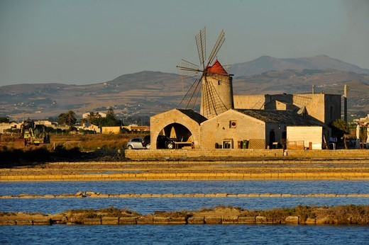 Stock Photo: 4292-139018 Italy, Sicily, Trapani, Salt ponds and Nubia windmill