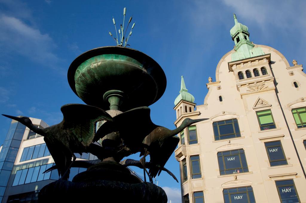 Denmark, Copenhagen, Armagertorv, architecture and fountain : Stock Photo