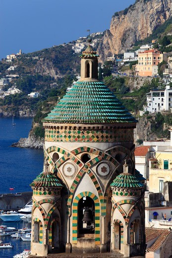 Italy, Campania, Amalfi, View of the town and the cathedral belltower : Stock Photo