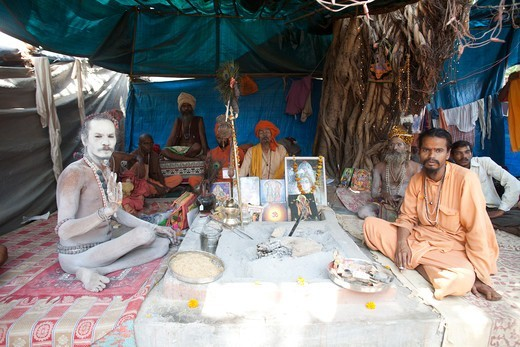Stock Photo: 4292-142042 India,Uttar Pradesh, Allahabad (Prayag), Kumbh Mela holy Festival, sadhu