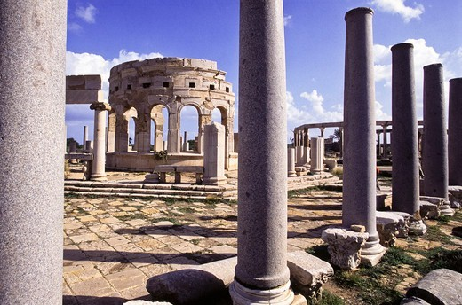 Stock Photo: 4292-142711 Africa, Libya, Leptis magna Forum ruins,