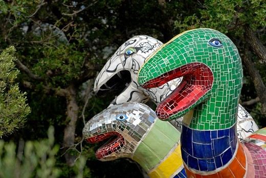 Italy, Toscana, Grosseto, Capalbio, Giardino dei Tarocchi, outdoor sculpture by Niki de Saint Phalle : Stock Photo
