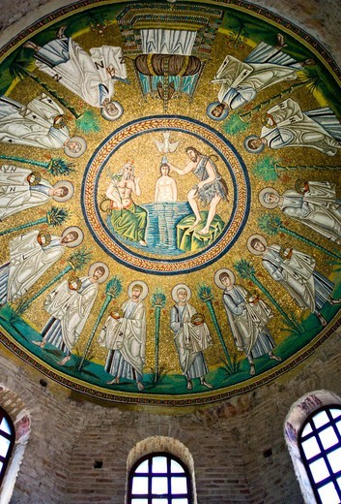 Italy, Ravenna, the mosaic of the dome of the Battistero Degli Ariani. : Stock Photo