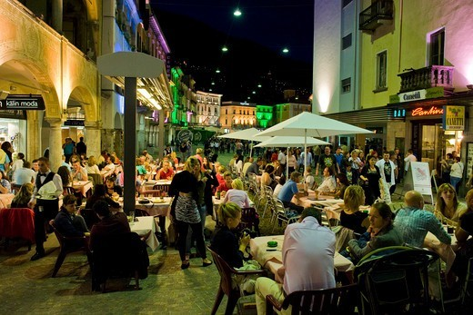 Stock Photo: 4292-145192 Switzerland, Canton Ticino, Locarno, Piazza Grande, traditional restaurant