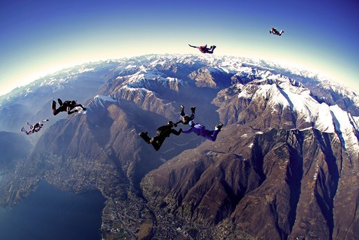 Stock Photo: 4292-145225 Switzerland, Canton Ticino, parachuting