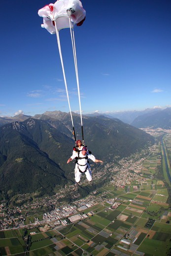 Stock Photo: 4292-145261 Switzerland, Canton Ticino, parachuting