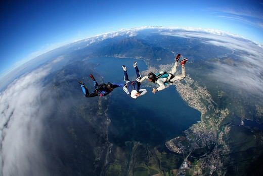 Switzerland, Canton Ticino, parachuting : Stock Photo