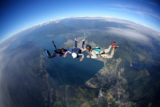 Stock Photo: 4292-145272 Switzerland, Canton Ticino, parachuting