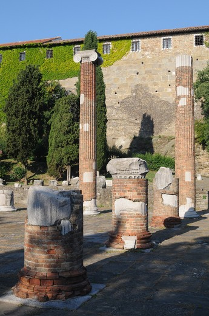 Italy, Friuli Venezia Giulia, Trieste, San Giusto, Columns at the Roman Basilica Ruins : Stock Photo