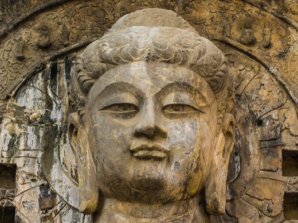 Asia, China, Luoyang ,Buddha Vairocana, Main wall of Fengxiansi Cave : Stock Photo