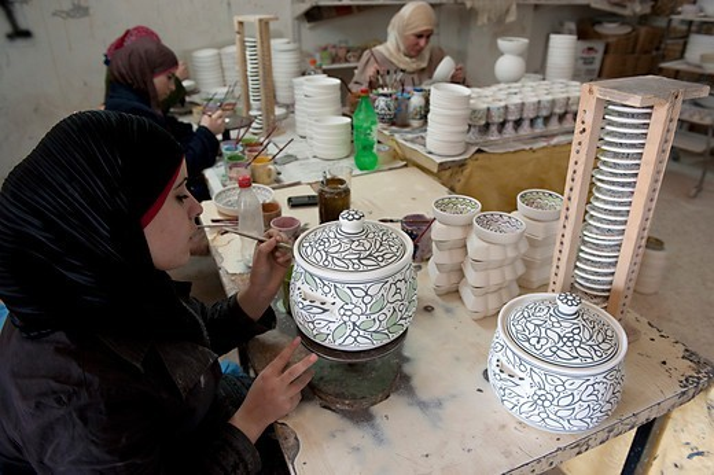 Israel, West Bank, Hebron, Al Salam ceramic factory : Stock Photo