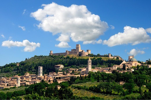 Italy, Umbria, Assisi, panorama : Stock Photo