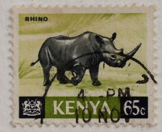 Africa, rhino old stamps : Stock Photo