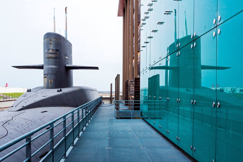Stock Photo: 4292-153057 France, Normandy, Cherbourg, La Cité De La Mer, the nuclear submarine 'Le Redoutable'