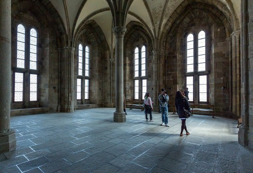 Stock Photo: 4292-153083 France, Normandy, Mont St Michel, the reception hall of the abbey