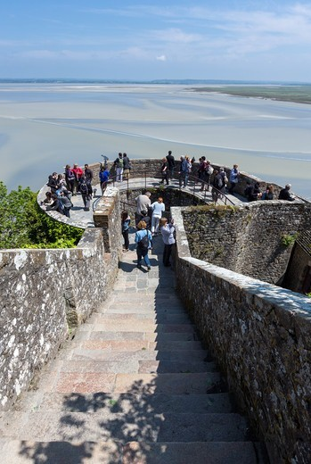 Stock Photo: 4292-153087 France, Normandy, tourists in the medieval village of Mont St Michel