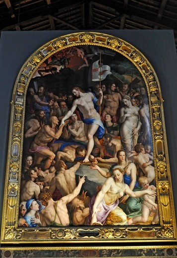 Italy, Florence, St. Croce, Descent of Christ into Limbo, Bronzino : Stock Photo