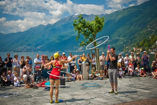 Switzerland, Canton Ticino, Ascona, Street performer festival : Stock Photo