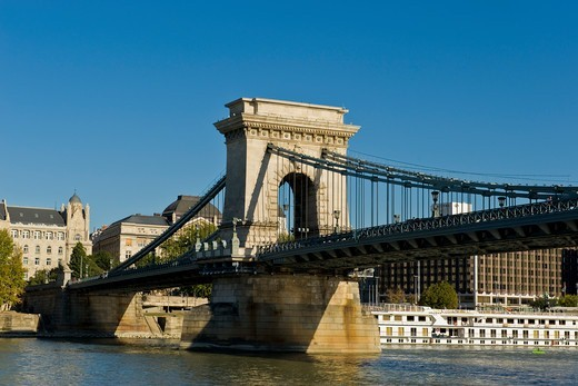 Hungary, Budapest, Chains bridge : Stock Photo
