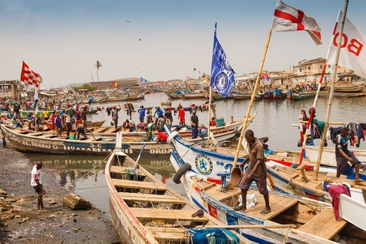 Stock Photo: 4292-154621 Africa, Ghana, Elmina, fishermen harbour