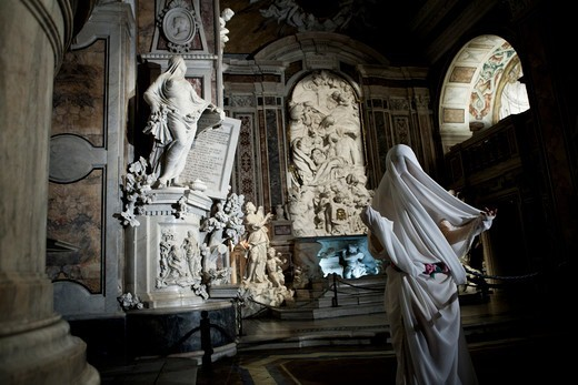Italy, Campania, Napoli, Chapel of the Prince of San Severo, ghostand marble statues : Stock Photo