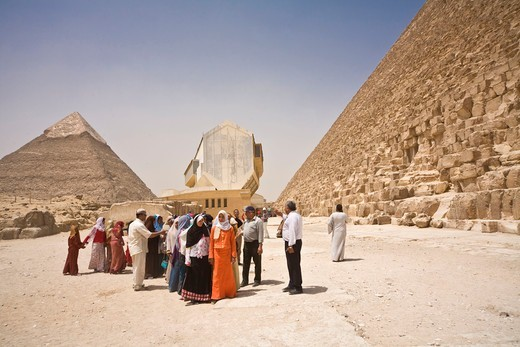 Egypt, Cairo, A group of schoolchildren at the foot of the pyramids : Stock Photo