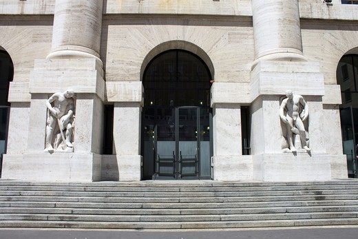 Stock Photo: 4292-155279 Italy, Lombardy, Milan, the stock exchange in Piazza Affari