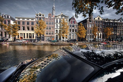 Stock Photo: 4292-155830 The Netherlands, Amsterdam, canal, buildings and reflection