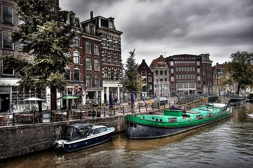 The Netherlands, Amsterdam, Canal, buildings, houseboats : Stock Photo