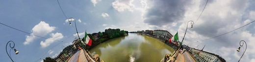 Stock Photo: 4292-155943 Italy, Piedmont, Turin, River Po, distorted view