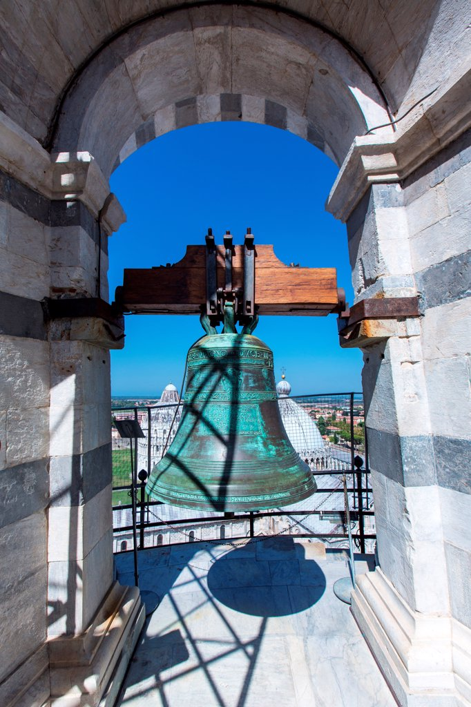 Italy, Pisa, Piazza Dei Miracoli, bells on the top of the Leaning Tower : Stock Photo