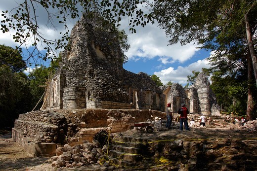 Stock Photo: 4292-161811 Mexico, Campeche State, Chicanna, archaeological mayan site, ruins, classic periods (years 300-800 A.D ) , restauration