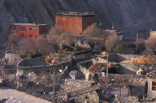 Stock Photo: 4292-16832 Nepal, Mustang Trek. Kagbeni Village