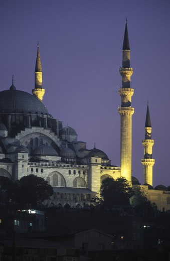 Stock Photo: 4292-16901 Turkey, Istanbul, the Suleymanye Mosque at dusk