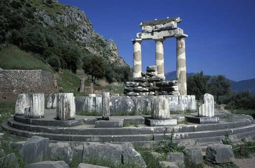 Stock Photo: 4292-17042 Greece, Delphi. Athena Temple