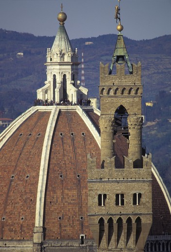 Italy, Florence. The Duomo and Palazzo Vecchio : Stock Photo