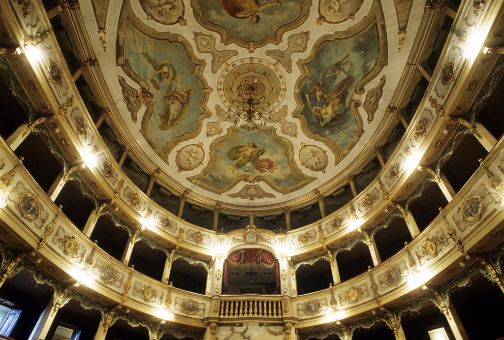 Italy, Emilia Romagna, Busseto, the interior of the Verdi theatre : Stock Photo