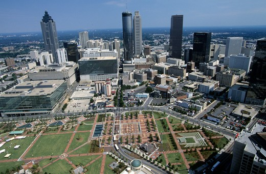 USa, Georgia, Atlanta skyline from the air : Stock Photo