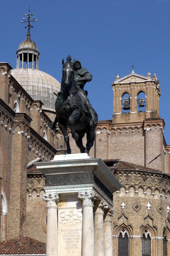 Italy, Veneto, Venice, Castello Quarter, San Giovanni e Paolo Square, Colleoni Monument. : Stock Photo