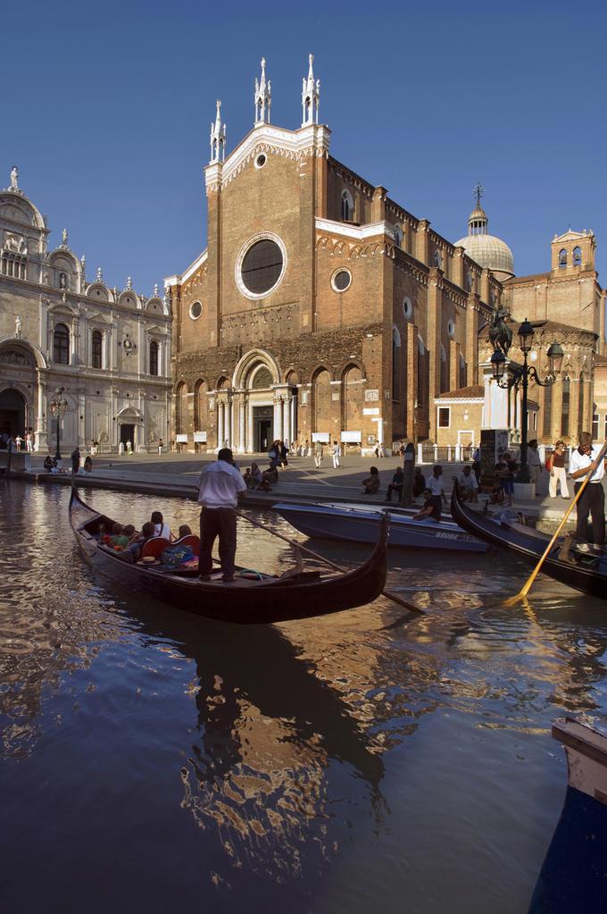 Stock Photo: 4292-20565 Italy, Venice, Castello Quarter, San Giovanni e Paolo Basilica, Gondolas.
