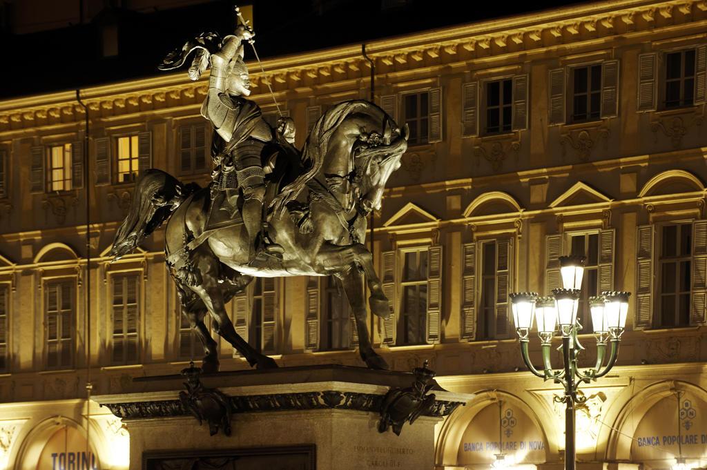 Stock Photo: 4292-20572 Italy, Piedmont, Turin, Piazza San Carlo, Emanuele Filiberto Statute.
